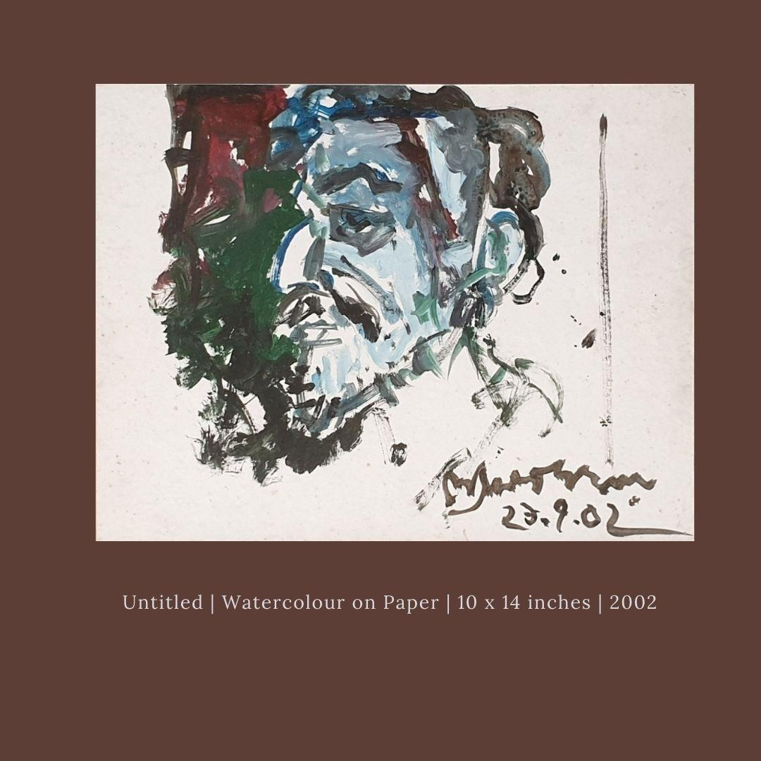 """Old Man, Watercolor on paper, Brown, Green, Blue, Modern Indian Artist""""In Stock"""""""