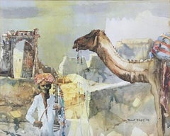 """The Musician & The Camel Watercolour on Paper by Shyamal Dutta Ray """"In Stock"""""""