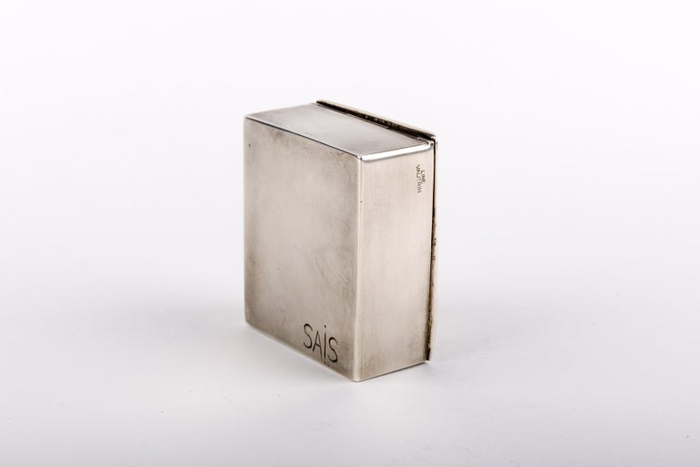 Mid-Century Modern Si face a elle j'osais, French 50 Line Vautrin Silvered Bronze Box For Sale