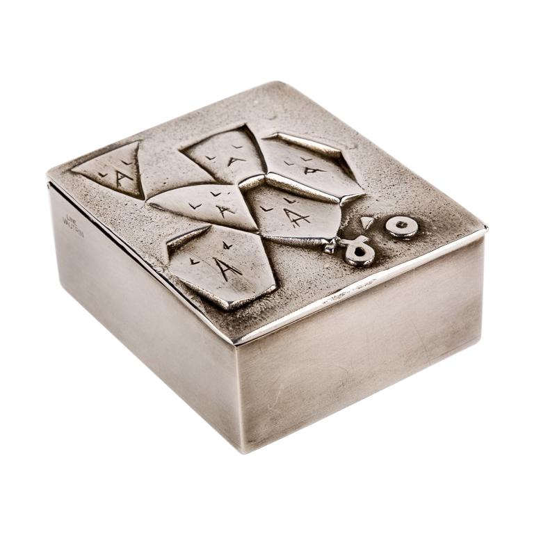 Si face a elle j'osais, French 50 Line Vautrin Silvered Bronze Box For Sale