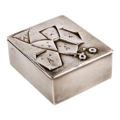 Si face a elle j'osais, French 50 Line Vautrin Silvered Bronze Box