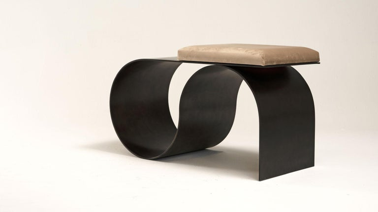 """Sia bench by Jason Mizrahi Dimensions: W 33"""", D 14"""", H 18"""" Materials: Aluminium, bronze-plated with leather or velvet seat cover   Finish option: Black powder coat finish Custom colors available.   Jason Mizrahi is a designer of contemporary"""