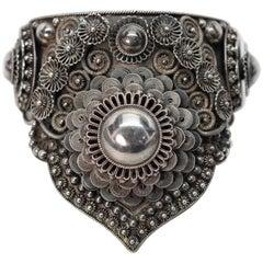 Siam Silver Ornate Cuff Bracelet