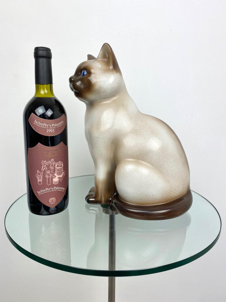 Siamese Cat Vintage Ceramic Sculpture by Piero Fornasetti 1960s Italy For Sale 7