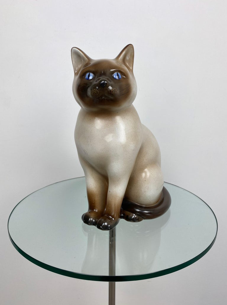 Mid-Century Modern Siamese Cat Vintage Ceramic Sculpture by Piero Fornasetti 1960s Italy For Sale