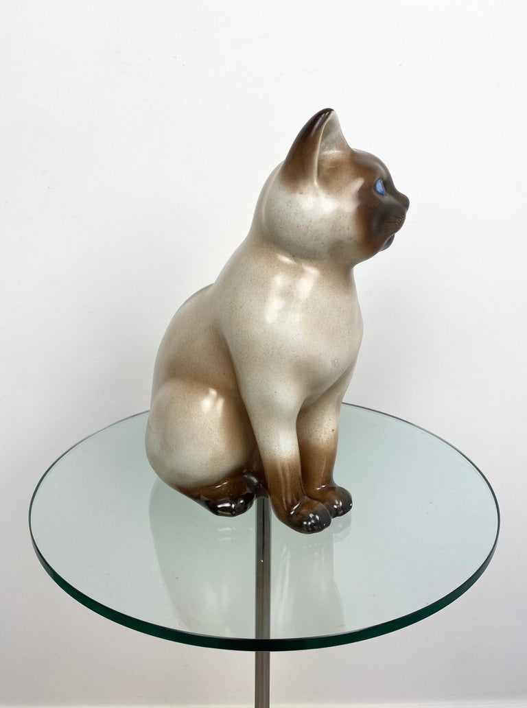 Mid-20th Century Siamese Cat Vintage Ceramic Sculpture by Piero Fornasetti 1960s Italy For Sale