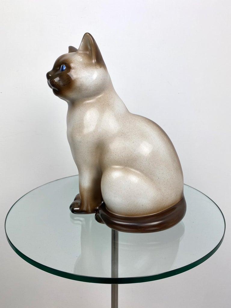 Siamese Cat Vintage Ceramic Sculpture by Piero Fornasetti 1960s Italy For Sale 1