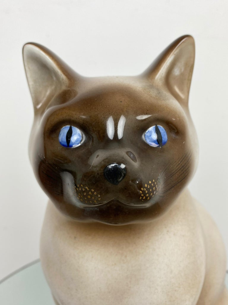 Siamese Cat Vintage Ceramic Sculpture by Piero Fornasetti 1960s Italy For Sale 2