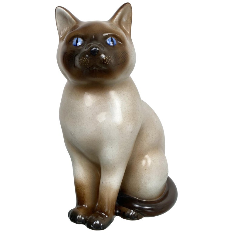 Siamese Cat Vintage Ceramic Sculpture by Piero Fornasetti 1960s Italy For Sale