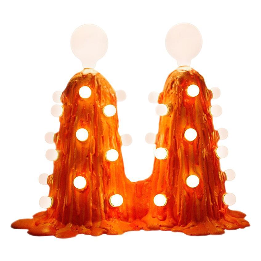 Siamese Orange Expandable Foam Floor Lamp by Joseph Algieri