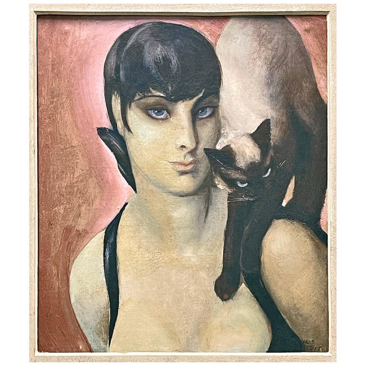 """Siamese Twins,"" Fabulous Art Deco Portrait with Siamese Cat and Female Figure"