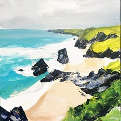 Bedruthan Steps II - contemporary seaside landscape, acrylic on board