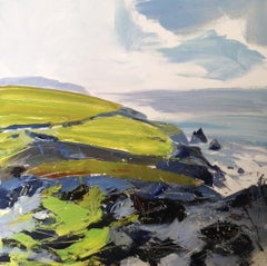 Ceibwr Bay -contemporary green and grey seascape acrylic paint on board
