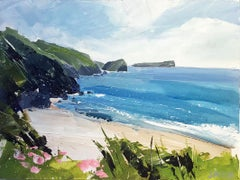 Mullion Cove - contemporary seaside landscape, acrylic on board