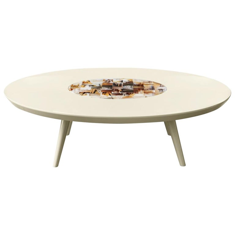 Sibari Coffee Table in Lacquered Wood with Corno Italiano Inlay, Mod. 4878 For Sale