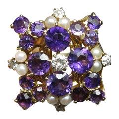Siberian Amethyst Diamond Pearl Ring 14 Karat Gold Exquisite Cocktail
