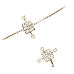 Sibylle von Munser Echo Bracelet with Diamonds in Yellow Gold 18 Karat
