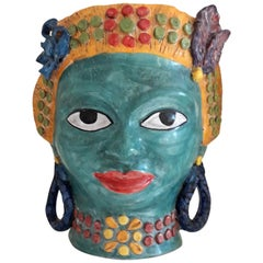 "Sicilian Ceramic Vase ""Testa Siciliana"",  handmade in Taormina Sicily, 2017"