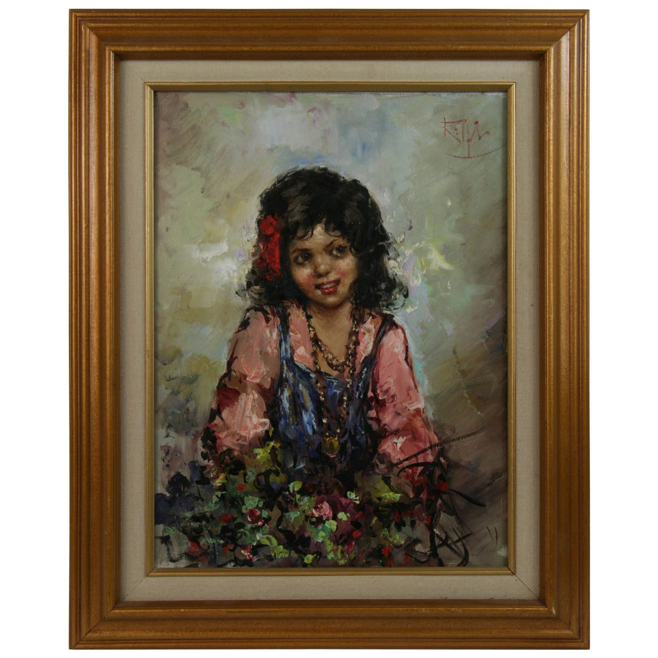 Sicilian Girl Flower Seller