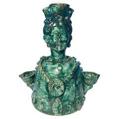 Sicilian Handmade Ceramic Candlestick in the Woman Shape, Italy, 21st Century
