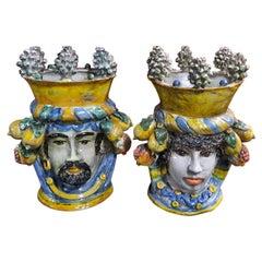 Sicilian Handmade Ceramic Large Heads 'Testa di Moro', Italy
