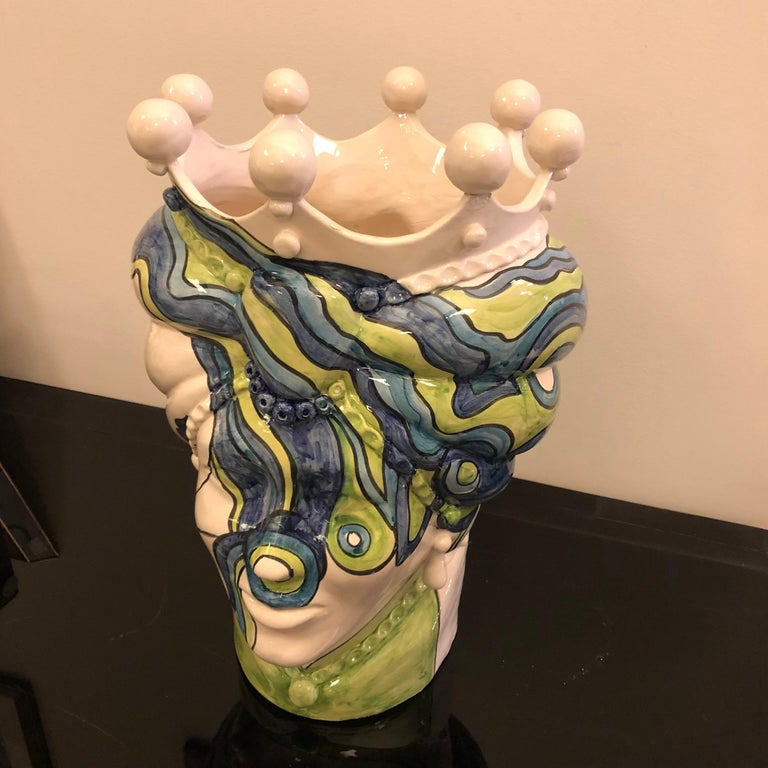 Sicilian Unique Hand Painted White Clay Vase in Pop Art Style For Sale 4