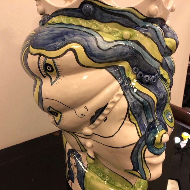 Modern Sicilian Unique Hand Painted White Clay Vase in Pop Art Style For Sale