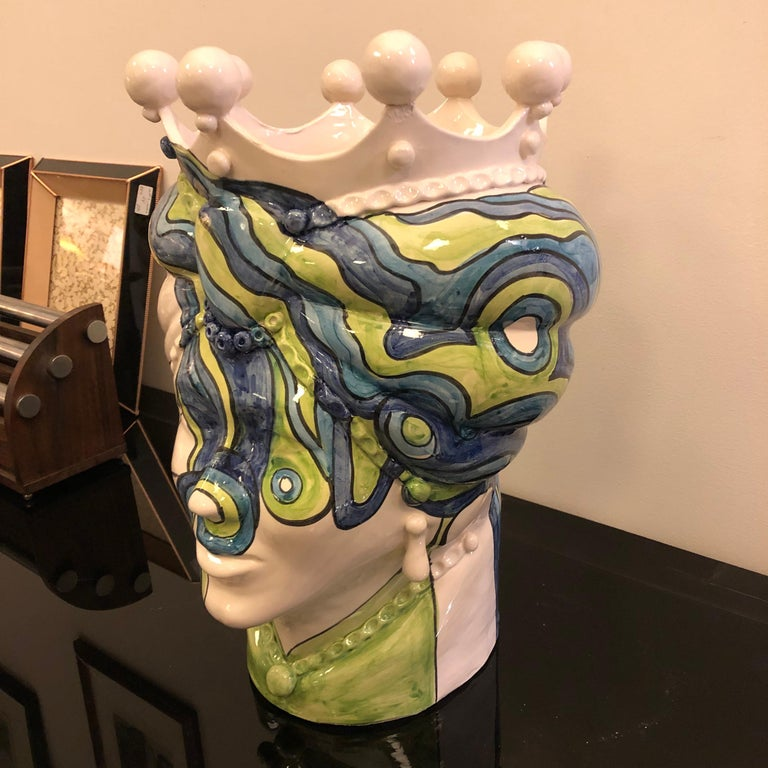 Contemporary Sicilian Unique Hand Painted White Clay Vase in Pop Art Style For Sale