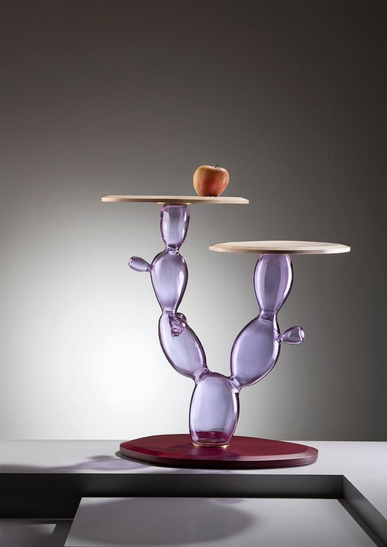 Modern Sicily Handmade Glass and Wood Side Table by Simone Crestani & Giordano Viganò