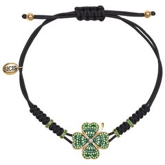 Stylish Clover Bracelet Yellow Gold White Diamonds Tsavorite Micromosaic Insert