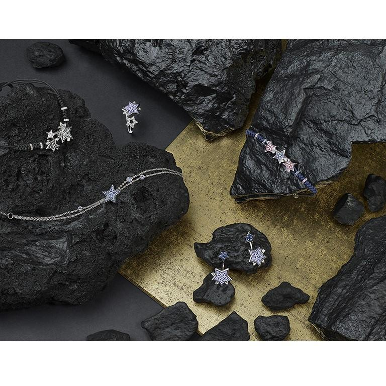 Contemporary Sicis Etoile Dark Bracelet White Gold White and Black Diamonds Micromosaic For Sale