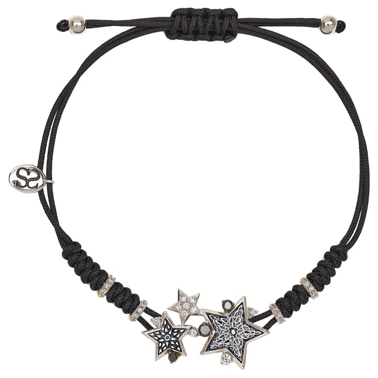 Sicis Etoile Dark Bracelet White Gold White and Black Diamonds Micromosaic For Sale