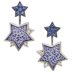 Earrings White Gold White Diamonds Blue Sapphires HandDecorated with Micromosaic
