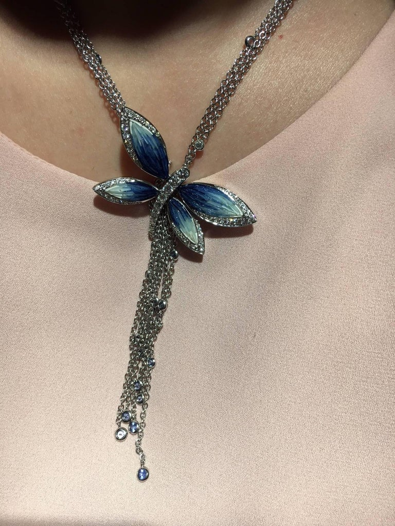 Brilliant Cut Stylish Necklace White Diamonds White Gold Sapphire Hand Decorated Micromosaic For Sale