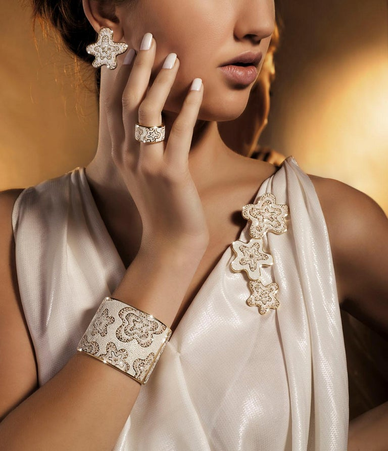 Contemporary Sicis Fiore Pearl Citrine Quartz Gold Micromosaic Necklace For Sale