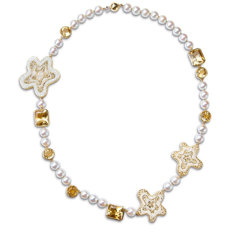 Sicis Fiore Pearl Citrine Quartz Gold Micromosaic Necklace In New Condition For Sale In London, GB