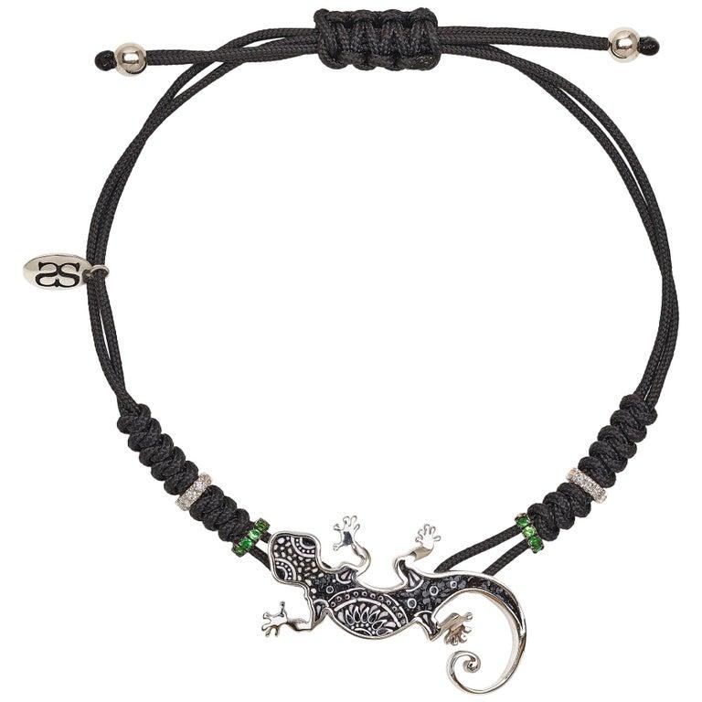 Sicis Gecko Bracelet White Gold White Diamond Tsavorite Micromosaic For Sale