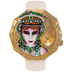 Grand Tour Watch White and Brown Diamonds Sapphires Emeralds Micromosaic