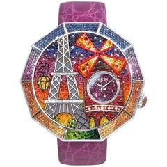 Grand Tour Watch White Diamonds Multi-Color Sapphires Ruby Micromosaic
