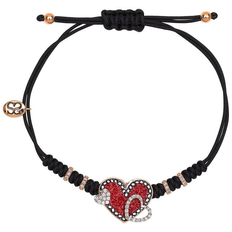 Stylish Bracelet Rose Gold White Diamonds Hand Decorated with Micromosaic  For Sale