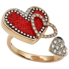 Sicis Heart Ring Rose Gold White Diamonds Micromosaic