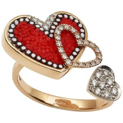 Heart Ring Rose Gold White Diamonds Micromosaic