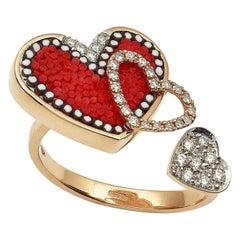 Stylish Ring Rose Gold White Diamonds Hand Decorated Micromosaic Customizable
