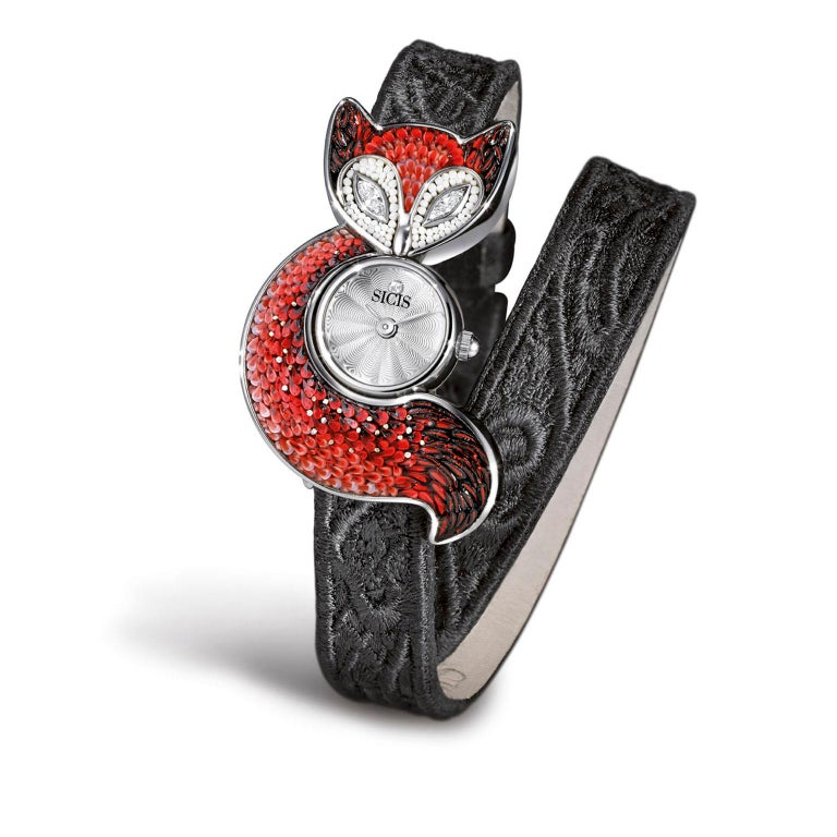 Sicis Ladies Crazy Fox Red Feather Micromosaic Quartz Wristwatch In New Condition For Sale In London, GB