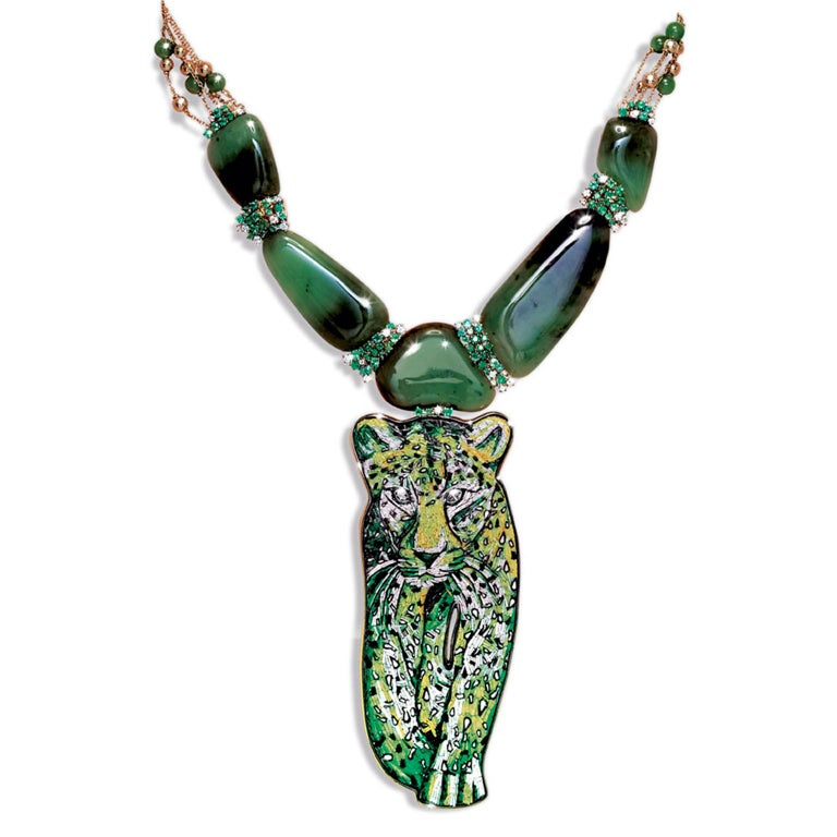 Sicis Savane Green Micromosaic Diamond Emerald Agate Gold Necklace In New Condition For Sale In London, GB
