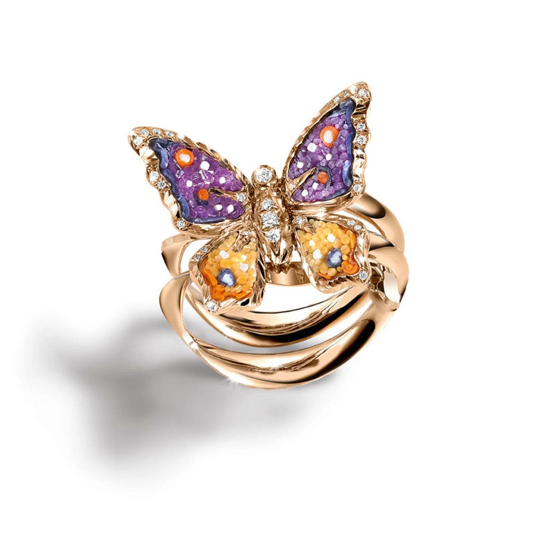 Contemporary Sicis Small Butterfly Diamond Micromosaic Gold Ring For Sale