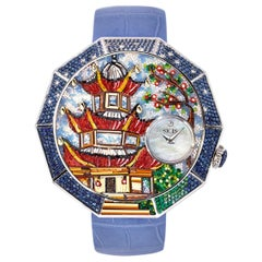 Watch White Diamonds Blue Sapphires Emeralds Tsavorites Micromosaic