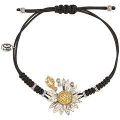 Stylish Daisy Bracelet White & Yellow Gold White Diamonds Sapphires Micromosaic