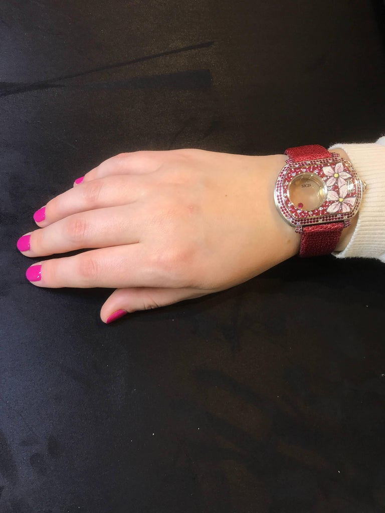 Contemporary White Gold White Diamonds Ruby Micromosaic Automatic Wristwatch For Sale