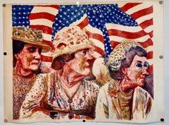 Ohio Art Modern Americana Patriotic Lithograph American Flag Attentive Patriots